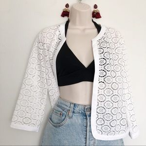 [Anne Klein] White Lace Cardigan Coverup Top